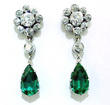 Antique Emerald Drop Earrings Diamond Flowers